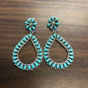 Navajo turquoise earrings silver teardrop